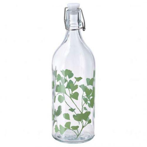 KORKEN КОРКЕН, Бутылка с пробкой, стекло/с печатным рисунком, 1 л - 004.812.40