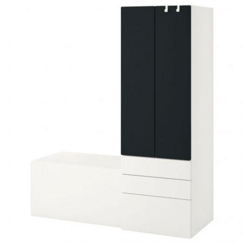 SMASTAD СМОСТАД, Комбинация д/хранения, белый поверхность доски для записей/со скамьей, 150x57x181 см - 293.959.30