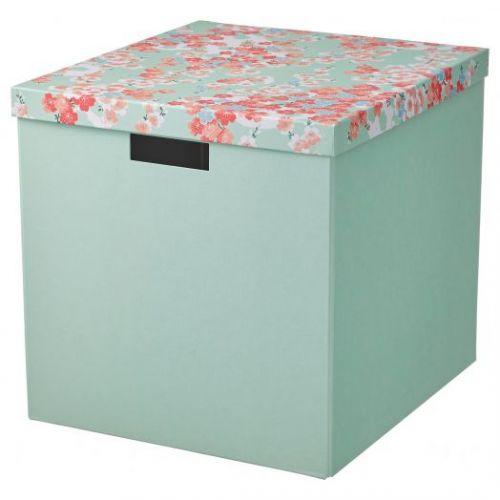 TJENA ТЬЕНА, Коробка с крышкой, цветок/светло-зеленый, 32x35x32 см - 304.770.34