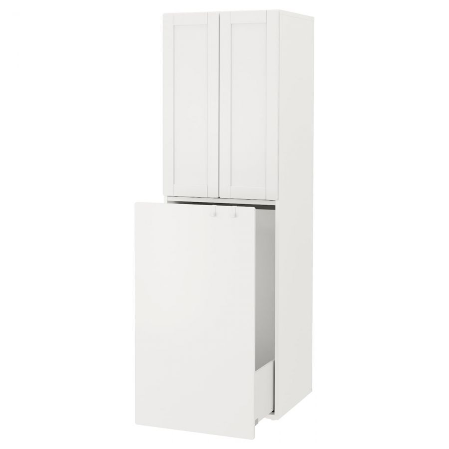 SMASTAD СМОСТАД, Гардероб с выдвижным модулем, белый с рамой/с платяной штангой, 60x57x196 см - 993.961.63