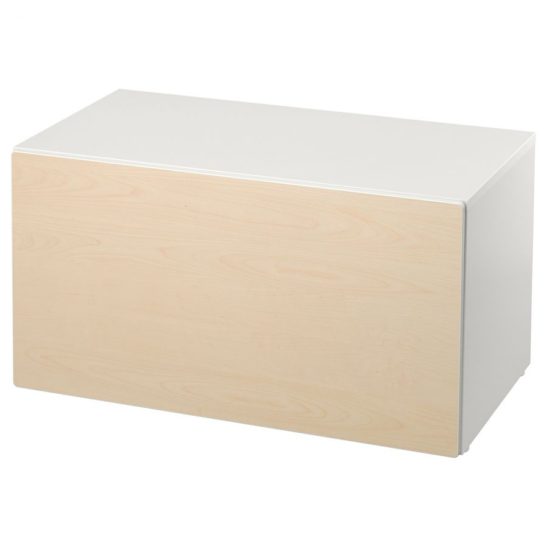 SMASTAD СМОСТАД, Скамья с отделением для игрушек, белый/береза, 90x52x48 см - 293.932.95