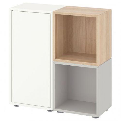 EKET ЭКЕТ, Комбинация шкафов с ножками, белый/светло-серый/под беленый дуб, 70x25x72 см - 192.864.27
