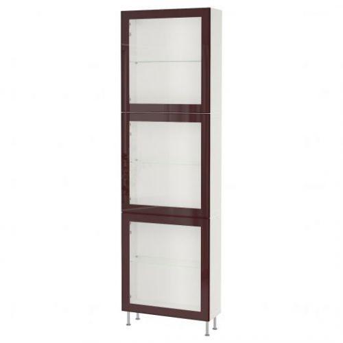BESTA БЕСТО, Комбинация д/хранения+стекл дверц, белый глассвик/сталларп/темный красно-коричневый прозрачное стекло, 60x22x202 см - 993.019.14