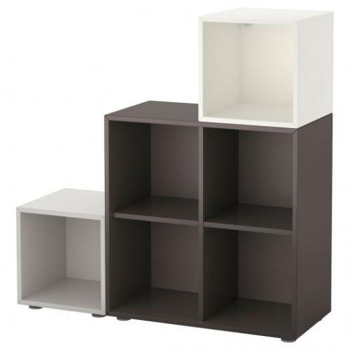 EKET ЭКЕТ, Комбинация шкафов с ножками, белый/темно-серый/светло-серый, 105x35x107 см - 591.908.52