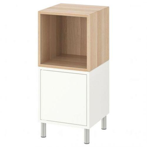 EKET ЭКЕТ, Комбинация шкафов с ножками, белый/под беленый дуб, 35x35x80 см - 692.864.15