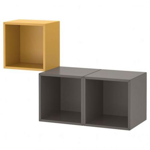 EKET ЭКЕТ, Комбинация настенных шкафов, золотисто-коричневый/темно-серый, 105x35x70 см - 092.863.57