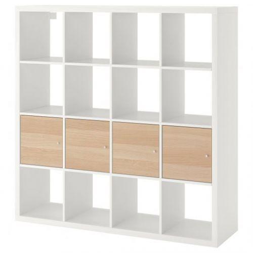 KALLAX КАЛЛАКС, Стеллаж с 4 вставками, белый/под беленый дуб, 147x147 см - 092.280.94