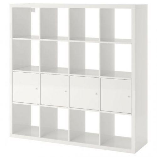 KALLAX КАЛЛАКС, Стеллаж с 4 вставками, глянцевый/белый, 147x147 см - 492.783.22