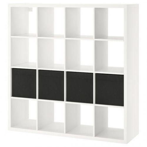 KALLAX КАЛЛАКС, Стеллаж с 4 вставками, белый/черный, 147x147 см - 492.281.10