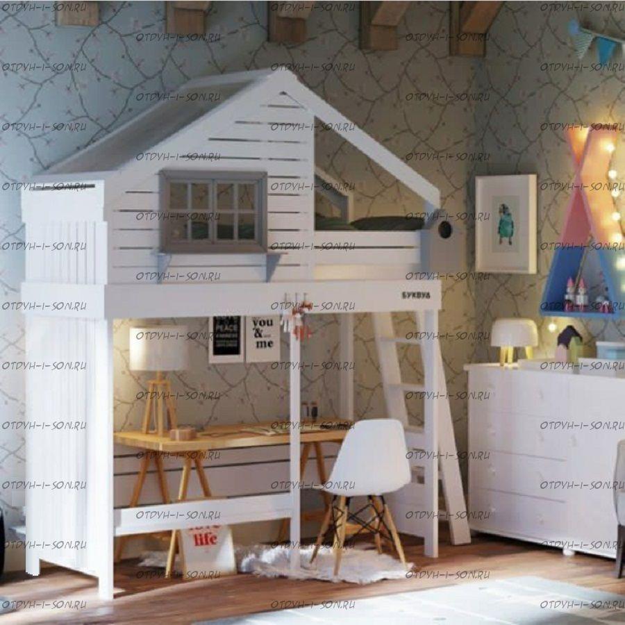 Кровать-чердак Домик Roof, любые размеры