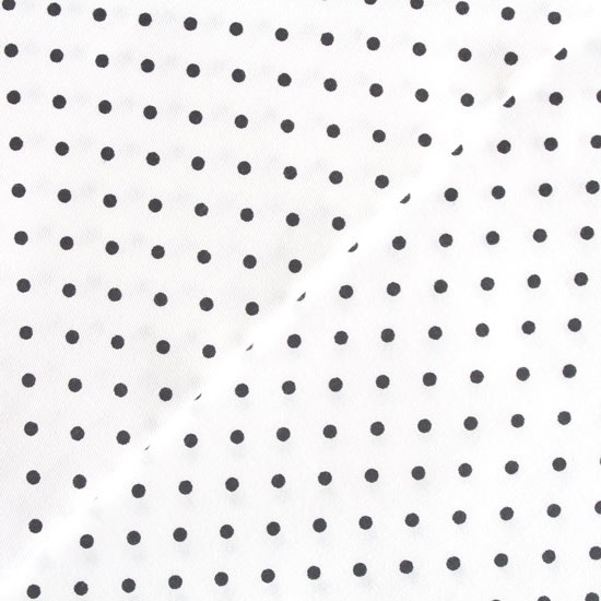 Хлопок - Мелкий черный горох на белом 50x40