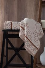 "Полотенце махровое жаккард  ""KARNA"" TUNUS  (коричневое) 50*90 Арт.3195-3"