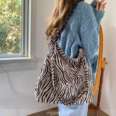 Корейская ниша дизайн chic большой емкости акриловые цепи мешок Zebra леопард замша одно плечо осень зима подмышки пакет