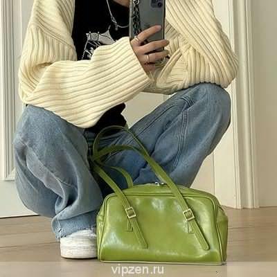 Ранняя весна зеленый Масло Воск кожа сумка ниша подмышки сумка Корея ins мешок 2020 новый дикий женская сумка