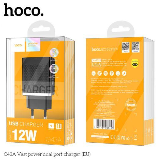 Сетевое зарядное устройство HOCO C43A Vast power, 2xUSB, черный