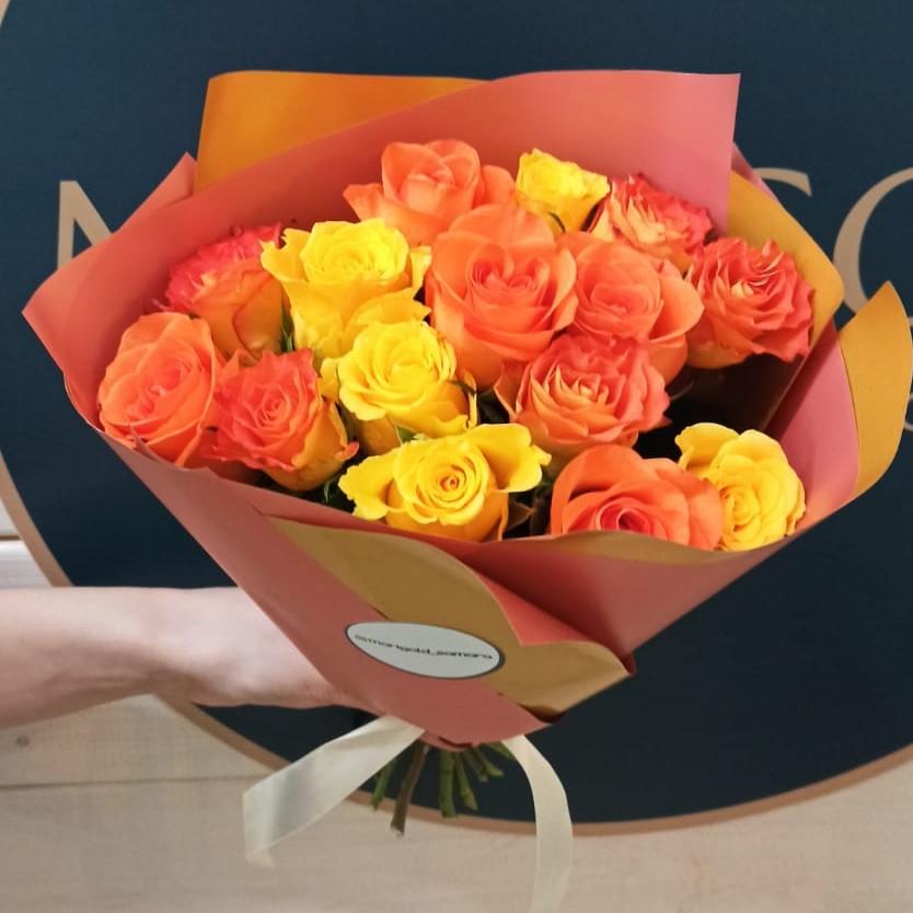 Букет из розы Кении 40см от15шт. в упаковке
