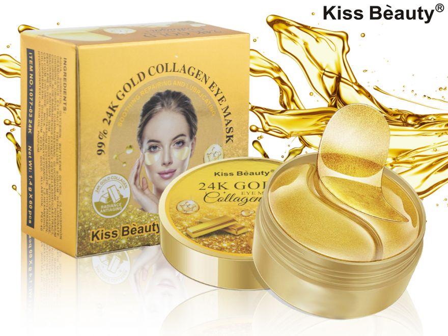 Гидрогелевые патчи для глаз от мешков и кругов под глазами Kiss Beauty 24K Gold Collagen Eye Mask 60шт (7160)