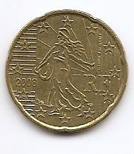 20 евроцентов Франция 2008 регулярная  из обращения