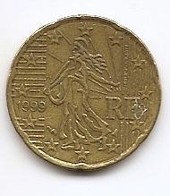 20 евроцентов Франция 1999 регулярная  из обращения