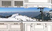 Наклейка на фартук кухни - За окошком Альпы | интерьерные наклейки