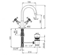 Смеситель вентильный Nicolazzi Agora 2336 для раковины схема 1