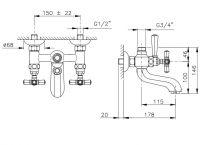 Настенный смеситель для душа Nicolazzi 1900 схема 1