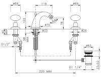 Смеситель для биде на 3 отверстия Nicolazzi 2115 схема 1