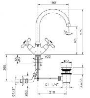 Смеситель для раковины Nicolazzi Nuova Brenta 2538 схема 1