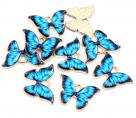фото Подвеска (кулон/ шарм) Бабочка с эмалью из металла R7-22 голубой