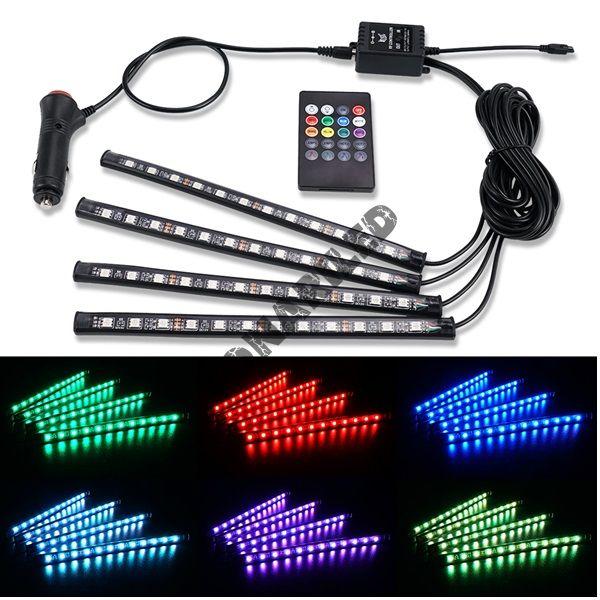 Светодиодная подсветка салона автомобиля на пульту PS-4-15-RGB