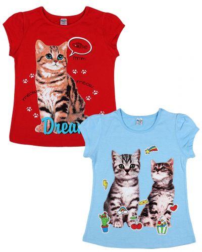 """Футболка для девочек Dias kids """"Cats"""" 4-8 лет"""