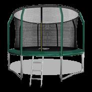 Батут Arland 12FT премиум с внутренней страховочной сеткой и лестницей (Dark green)
