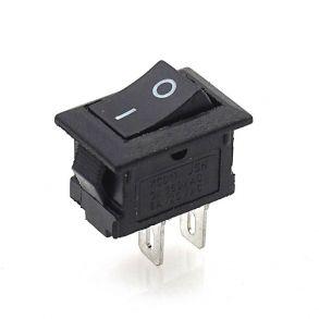 """Выключатель клавишный квадратный ON-OFF Mini без подсветки """"Black"""" (2-х контактный)"""