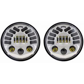 Светодиодные фары головного света CHROME 7 дюймов 160Вт с ДХО и поворотниками