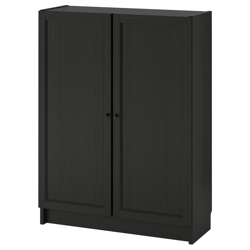 BILLY БИЛЛИ / OXBERG ОКСБЕРГ, Стеллаж с дверьми, черно-коричневый, 80x30x106 см - 492.810.46