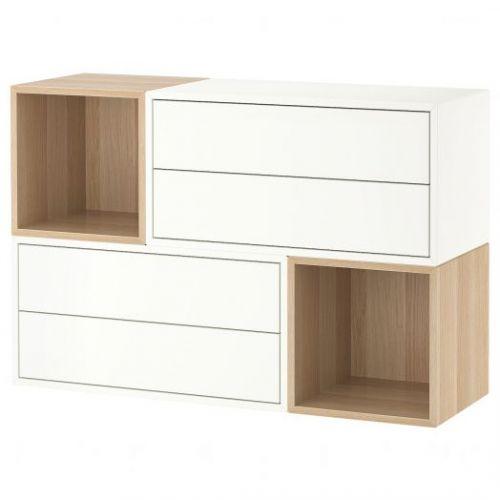 EKET ЭКЕТ, Комбинация настенных шкафов, белый/под беленый дуб, 105x35x70 см - 792.863.87