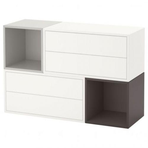EKET ЭКЕТ, Комбинация настенных шкафов, белый/светло-серый/темно-серый, 105x35x70 см - 391.910.46