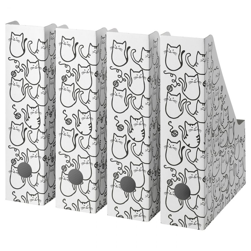 FLUNS ФЛЮНС, Подставка для журналов, белый/кот - 604.977.52