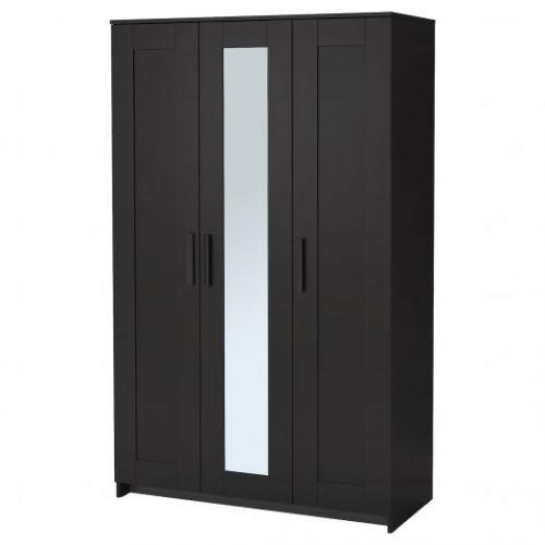BRIMNES БРИМНЭС, Шкаф платяной 3-дверный, черный, 117x190 см - 004.121.24