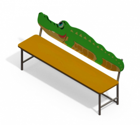 Лавочка со спинкой Крокодил АМФ-1.25