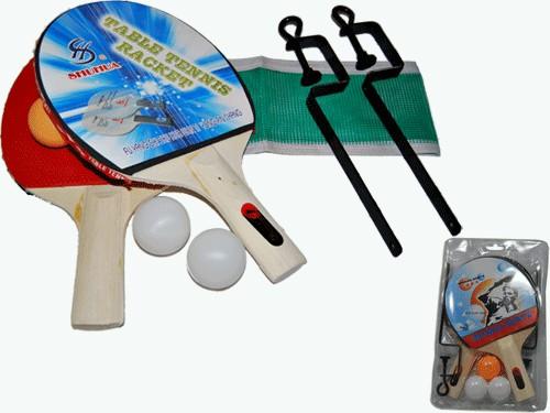 Набор для настольного тенниса. 2 ракетки, 3 шарика, стойки, сетка, артикул 11174