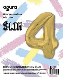 Шар (40''/102 см) Цифра 4 Slim, Золото, в упак.