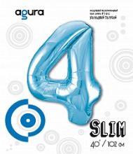 Шар (40''/102 см) Цифра 4 Slim, Голубой,  в упак.