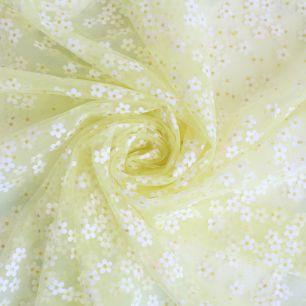 Мягкий фатин - Ромашки на желтом 150*25 см.