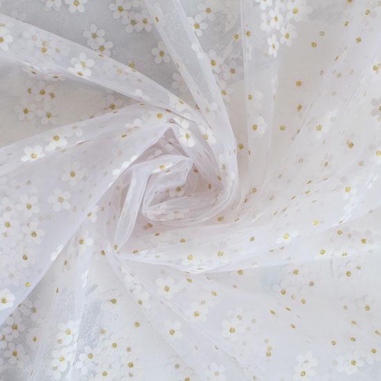 Мягкий фатин - Ромашки на белом 150*25 см.