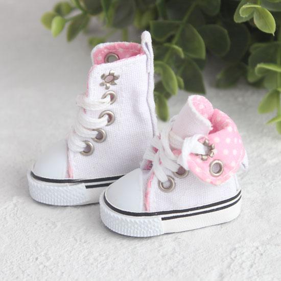 Обувь для кукол - Высокие кеды с отворотом 5 см. (белые)