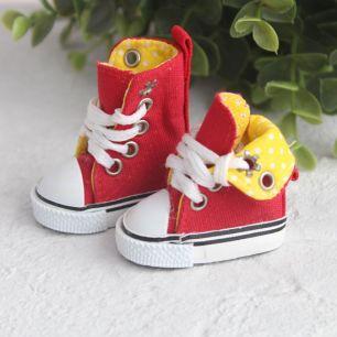 Обувь для кукол - Высокие кеды с отворотом 5 см. (красные)