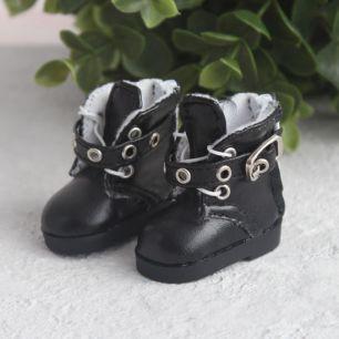 Обувь для кукол - Высокие черные ботинки с люверсами 5 см.