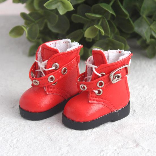 Обувь для кукол - Высокие красные ботинки с люверсами 5 см.