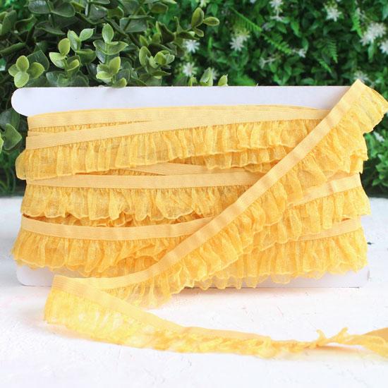Тесьма резинка-рюш, желтая 25 мм.